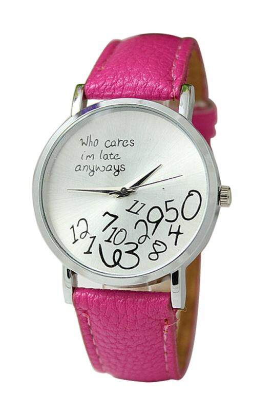 Arab numerals Leatherlet watches Quartz Analogue, Rosa, Unisex Watches, rose red