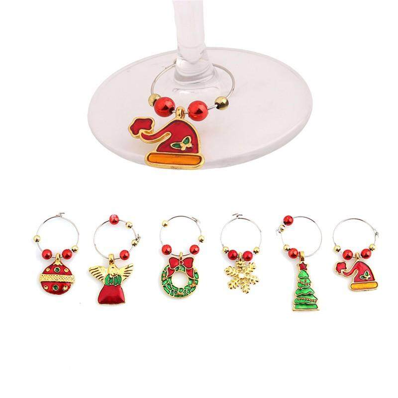 Christmas Wine Glass Decoration Charms Party New Year Cup Ring Table Decorations By Freebang