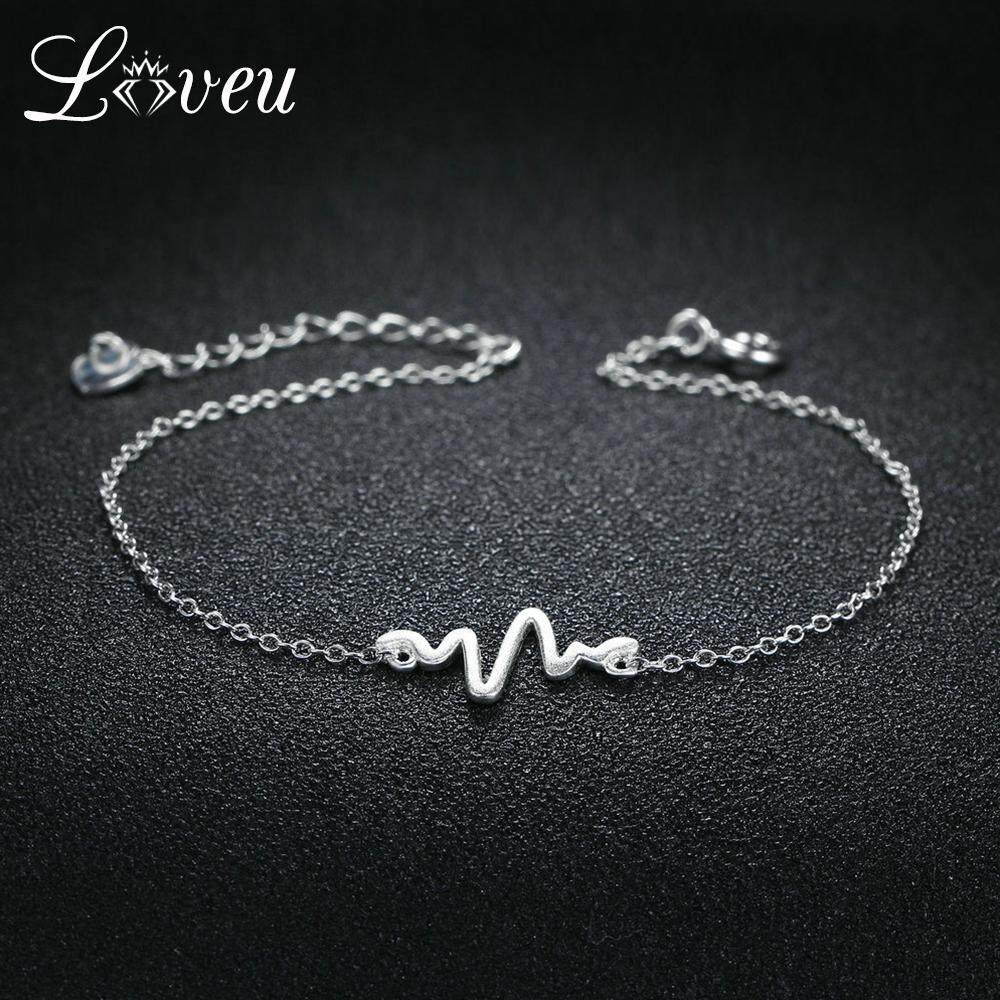 fee6c81bd LOVEU 100% 925 Sterling Silver Charms Bracelets & Bangles Irregular Wavy  Design S925 Jewelry For