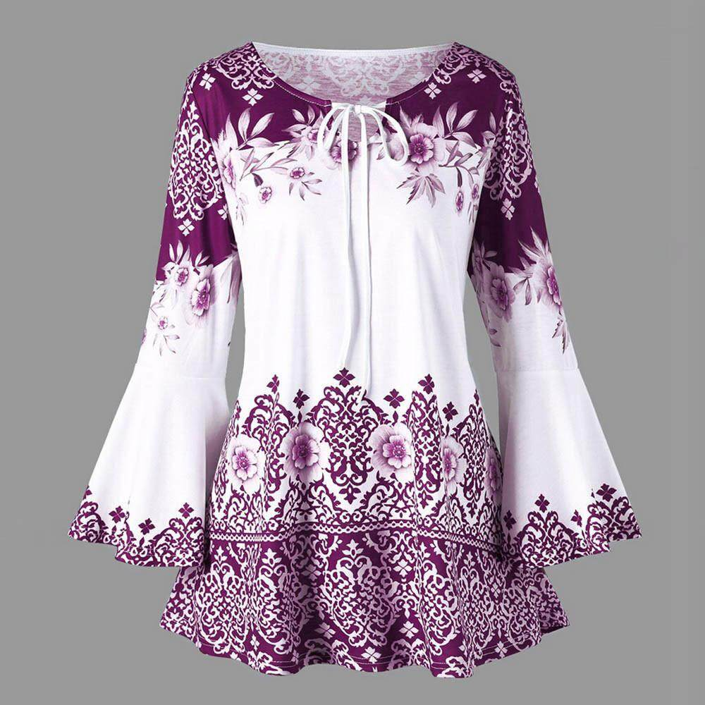 15675cd44e03d3 Wallerstore Fashion Womens Plus Size Printed Flare Sleeve Tops Blouses  Keyhole T-Shirts