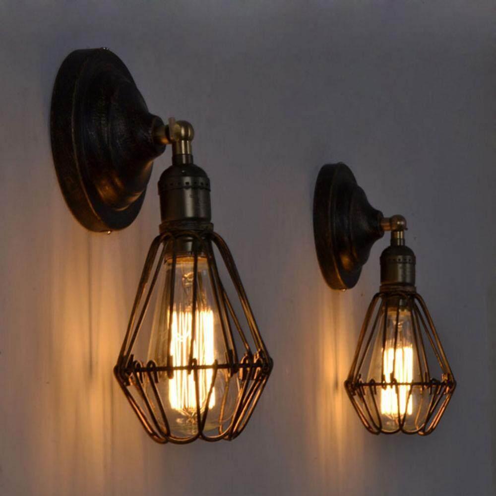 Vintage Wall Mounted Lamp Holder Home Cafe Shop Decorative Light Rack with E27 Light Socket(#4) - intl