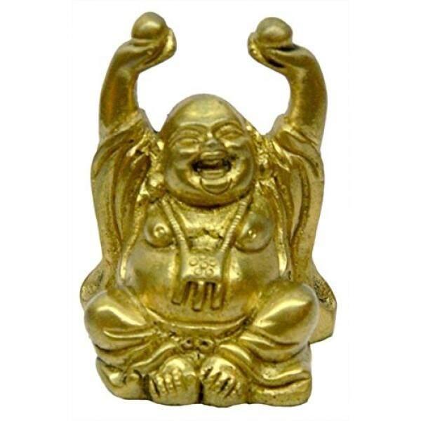 Bharat Haat Kuningan Budha Tertawa Halus Koleksi Patung 3299-Internasional