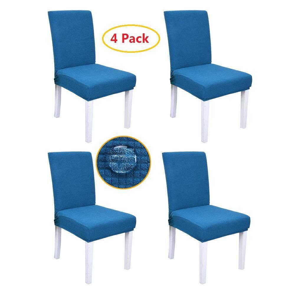 4 Pcs Fashion Jacquard Fabric Dining Room Chair Covers Spandex Soft Polar Fleece Plaid Non-Slip Chair Slipcovers