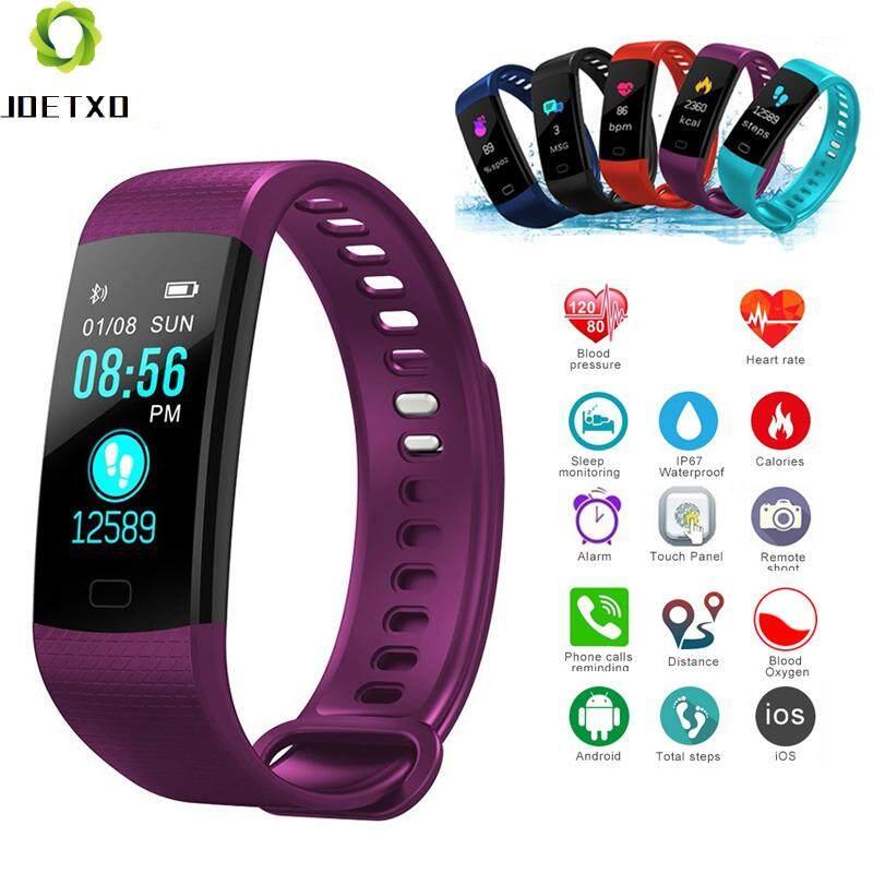 Joetox Y5 Smart Heart Rate Tekanan Darah Monitor Pemantau Fitness Gelang Olahraga Tahan Air Kamera Jarak Jauh HD Layar Sentuh Cerdas Watchs