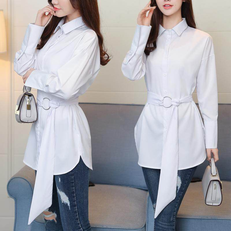 77e9547c7 8318# 2018 Spring Autumn New Women Fashion Cotton Long-sleeved Lapel Loose  White Shirt