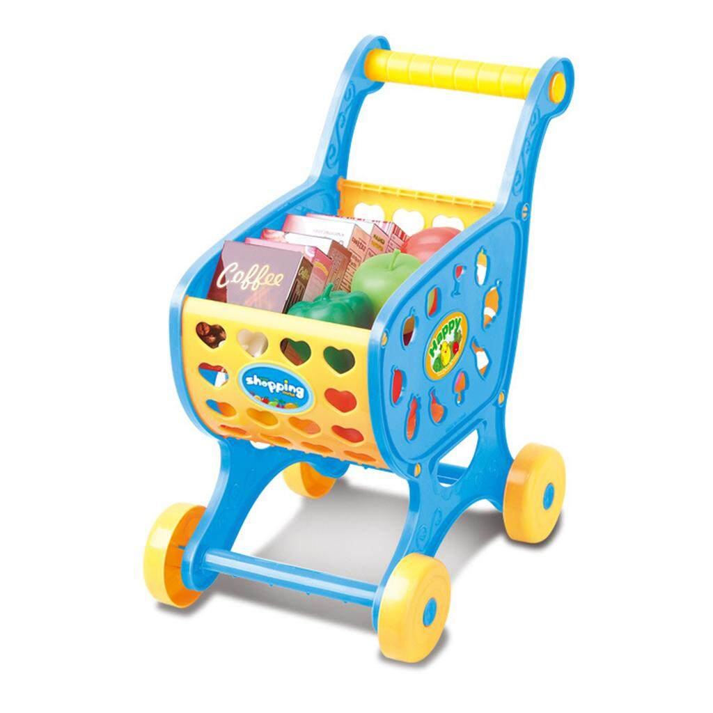 Hình ảnh MagiDeal Shopping Cart Toy Kids Supermarket Simulation Trolley Handcart Toy with14pcs Fruits Vegetables Food Pretend Play Toy Grocery Cart Blue