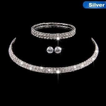 Bandingkan Toko Linfang Fashion Penuh Berlian Imitasi Kalung Bagus Anting-Anting Anting-Anting Pengantin Perhiasan Pernikahan Set-Intl sale - Hanya Rp52.496