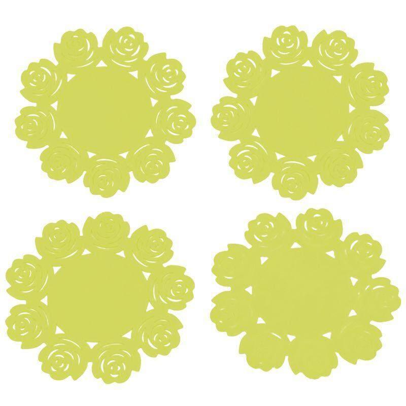 4 ชิ้นจานรองแก้วซิลิโคนลูกไม้ชุดเสื่อถ้วยชาดอกไม้ Doilies จานรองแก้วซิลิโคนเบาะวัสดุซิลิโคน Coaster 10 เซนติเมตร (ราคา) - Intl By Fastour.