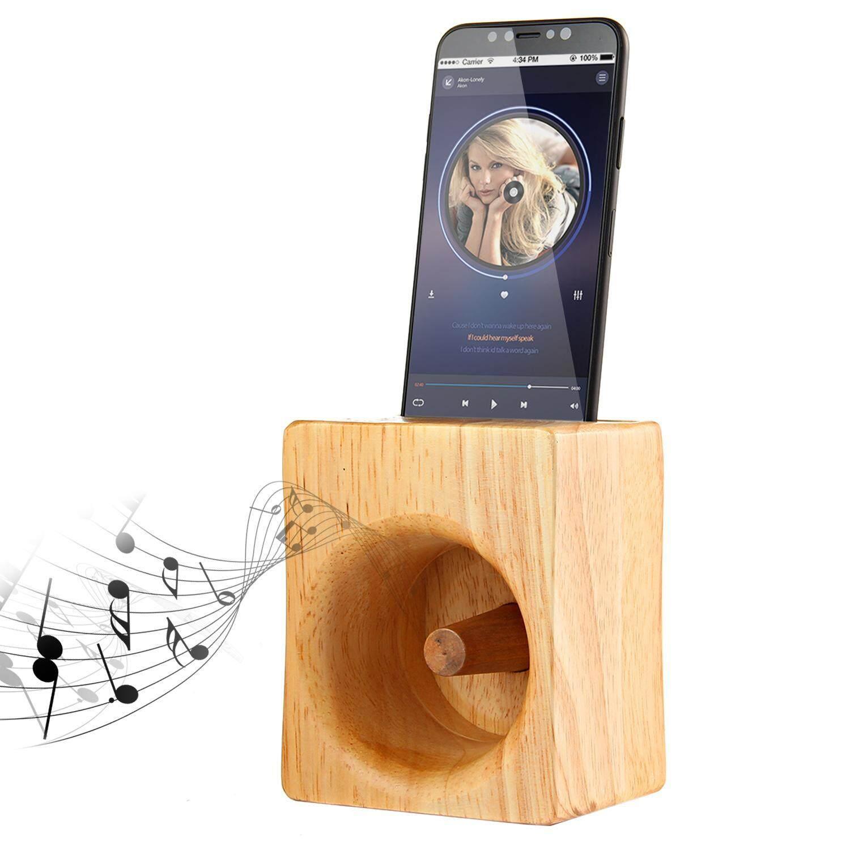 Jaywog Polos Kayu Ponsel Penyangga Pembicara, kayu Telepon Dock Dock Pengisian Baterai Ponsel Amplifier Suara Tidak Ada Daya Yang Dibutuhkan Pembicara-Internasional