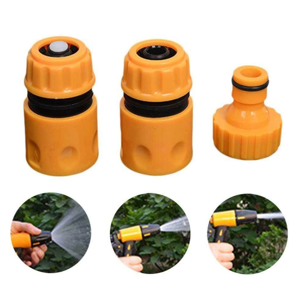 Hình ảnh Sway For Garden Water Hose Pipe Fitting Set Yellow Water Hose Pipe Connector 3pcs/set - intl