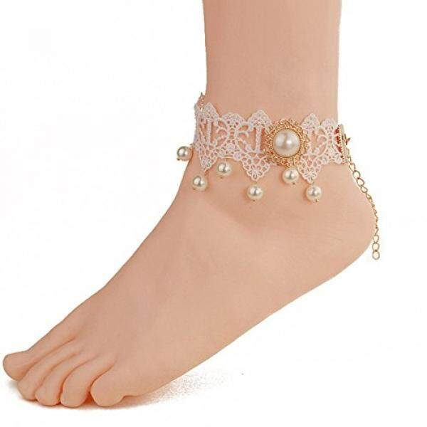 Wowlife White Lace Pearl Ankle Ring Foot Sandal Beach Wedding Ankle Bracelet Women Girls Anklet Bracelet / From USA