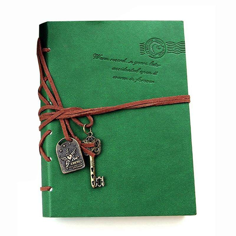 Classic Retro  Leather Bound Blank Pages Journal Diary Notepad Notebook Green 143*105*20mm.