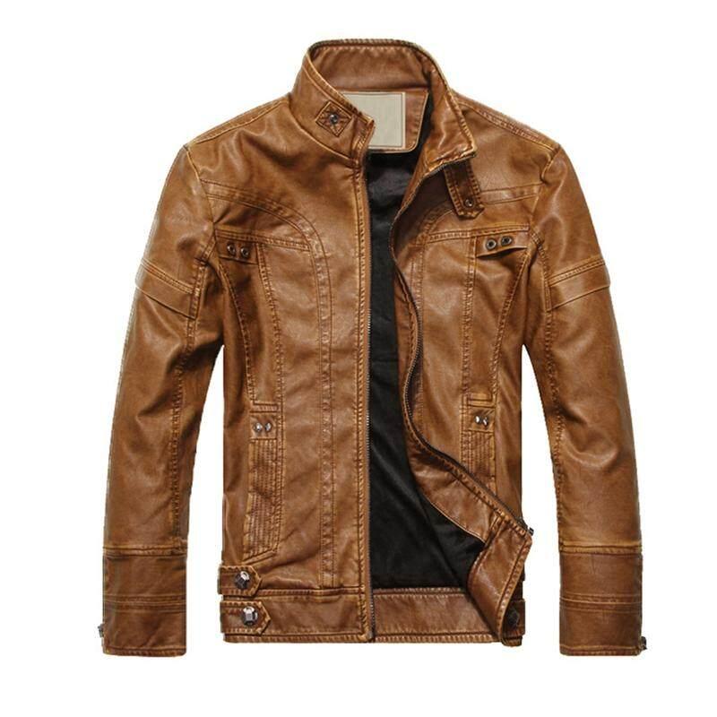Fashion Kulit Pria Mantel Sepeda Motor Jaket Pudar Mantel Kulit Kuning Tanah Ukuran XXL-Intl