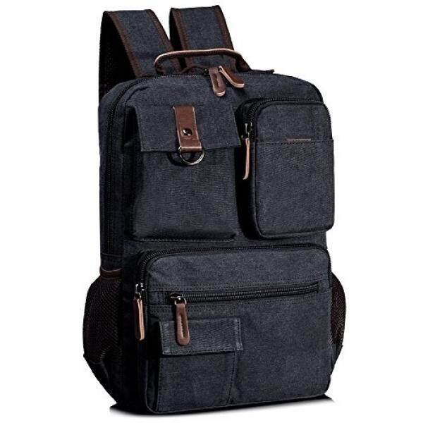 Leaper Vintage Cool Canvas Laptop Backpack Rucksack for College School Travel Daypack Shoulder Bag (Black) - intl