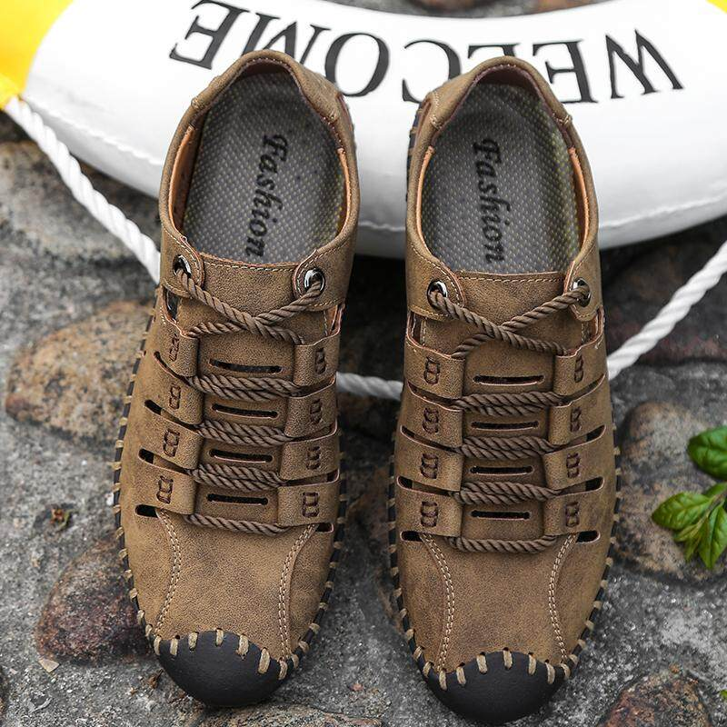 Summer Men Sandals Leather Casual Outdoor Hollow Beach Water Shoes Soft  Plus Big Size 45 46 20745da138