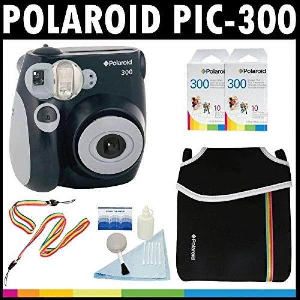 Polaroid PIC-300 Instant Film Analog Camera (Black) with (2) Polaroid 300 Instant Film Packs of 10 + Polaroid Neoprene Pouch + Polaroid Cleaning Kit + Neck & Wrist Strap - intl