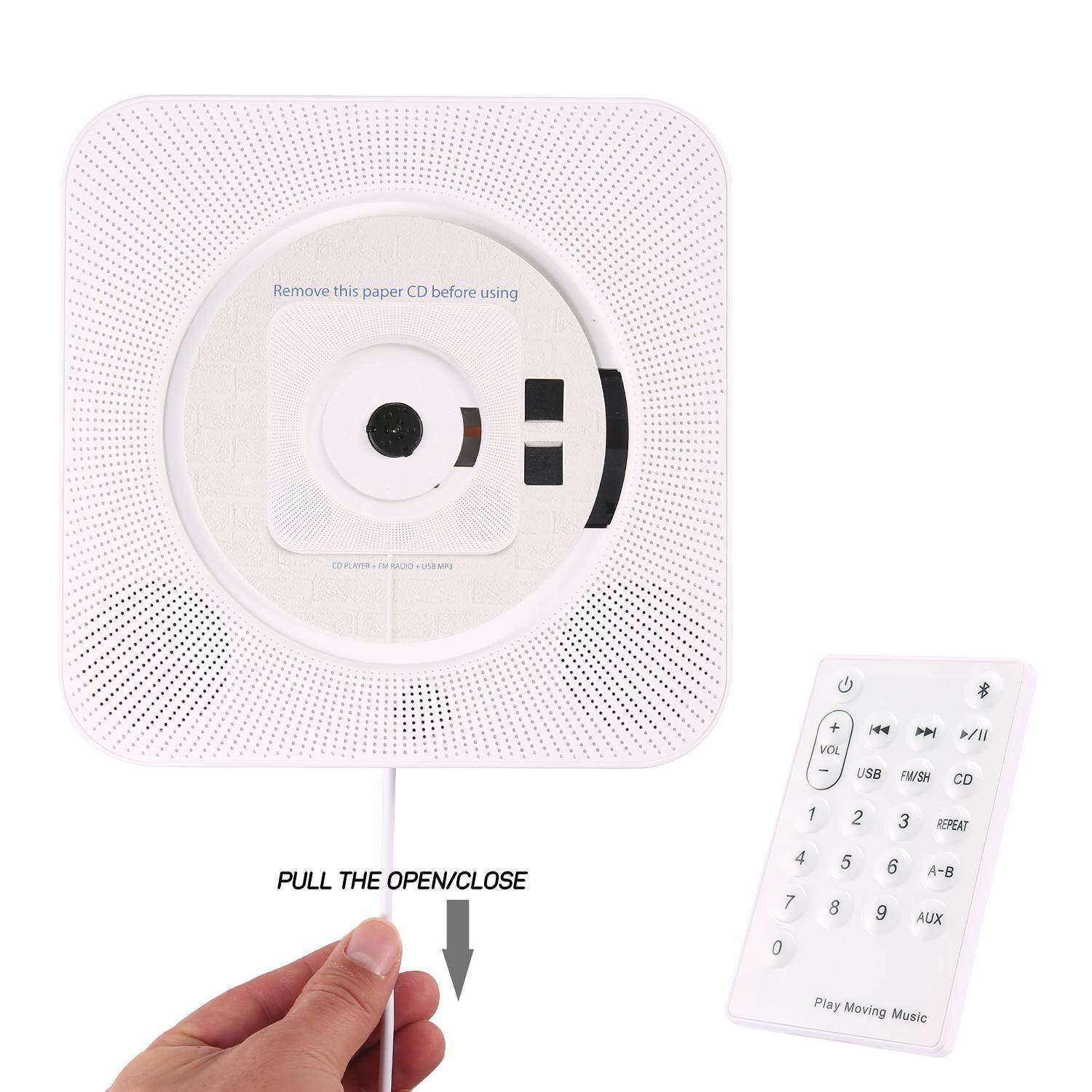 Kobwa Mini Cd Player Wall Mount Portable Speaker Music Playing Home Repeater Education Early Learning English Remote Control Bluetooth Cd Player Radio Built-In Hifi Speaker Mp3 Aux Input And Output - Intl By Kobwa Direct.