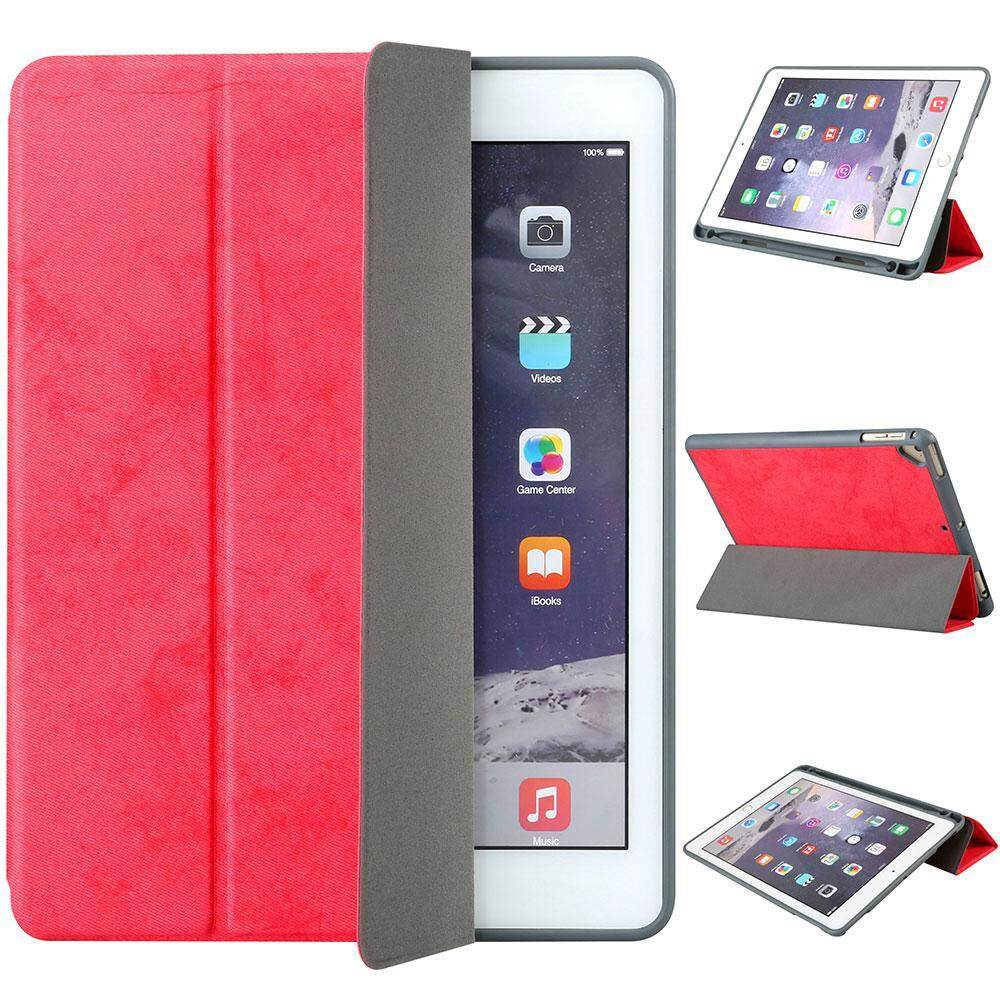 Buy Pawaca New Ipad 9 7 Case 2018 With Pencil Holder Flexible Soft Tpu 6Th Generation Case Ultra Slim Lightweight Trifold Stand Folio Smart Cover For The New 9 7 Inch Apple Ipad 2018 Only Red Pawaca
