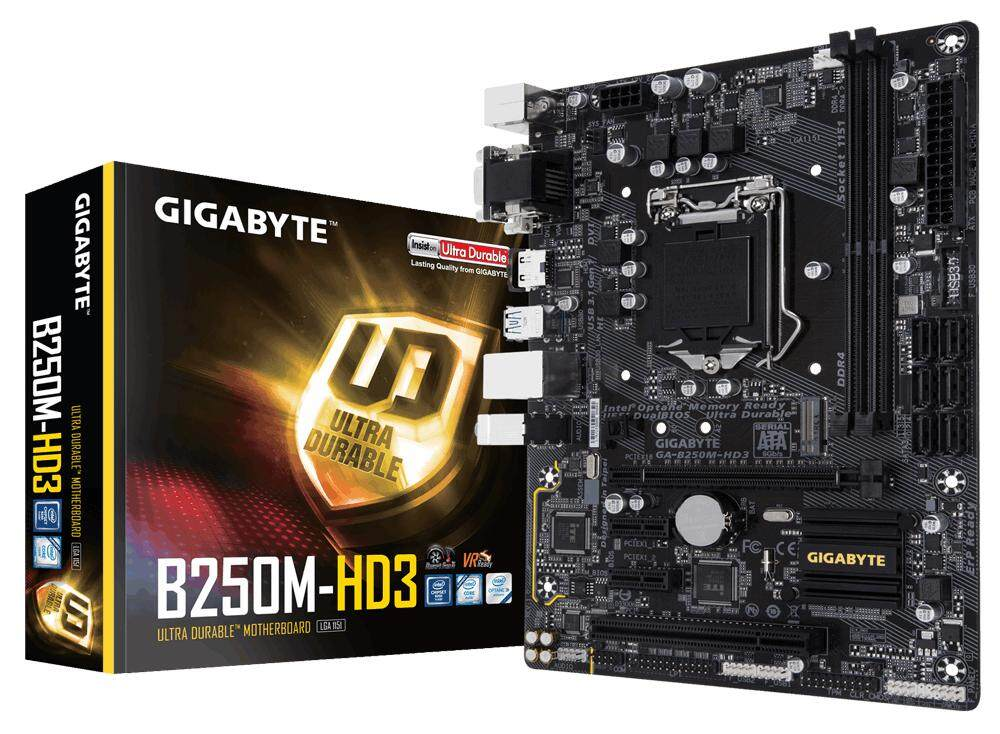 Gigabyte B250M-HD3 Motherboard MATX for 6th / 7th Gen Intel LGA1151 B250 Chipset B250M M.2 Ready (1 x HDMI, 1 x DVI-D, 1 x D-SUB)