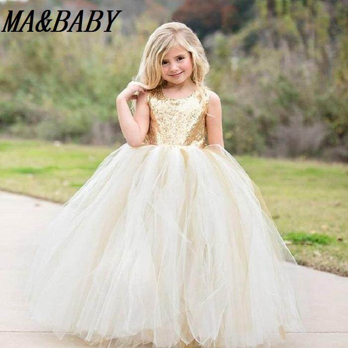 Sequins Kids Baby Girls Dress Birthday Party Gown Formal