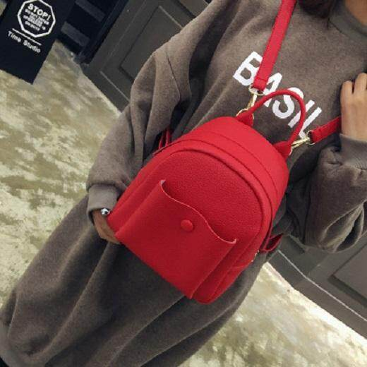 [PRE-ORDER] Women Simple Design Soft PU Leather Pocket Casual Backpack
