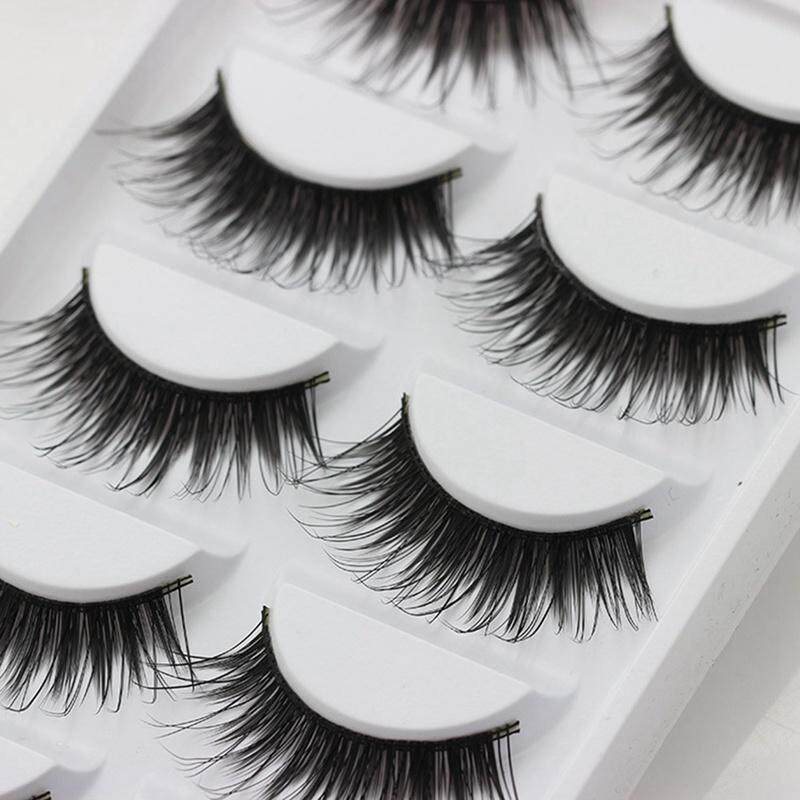 BZY 5 Pairs Natural Thick Makeup False Eyelashes Long Handmade Eye Lashes Extension