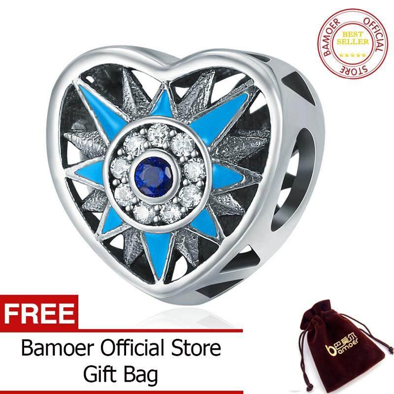 Bamoer Gratis Shpping Asli 925 Perak Berkilau Hati Cinta Romantis Berkilau Tajam Manik-manik Cocok Gelang Pesona Wanita Perhiasan SCC238