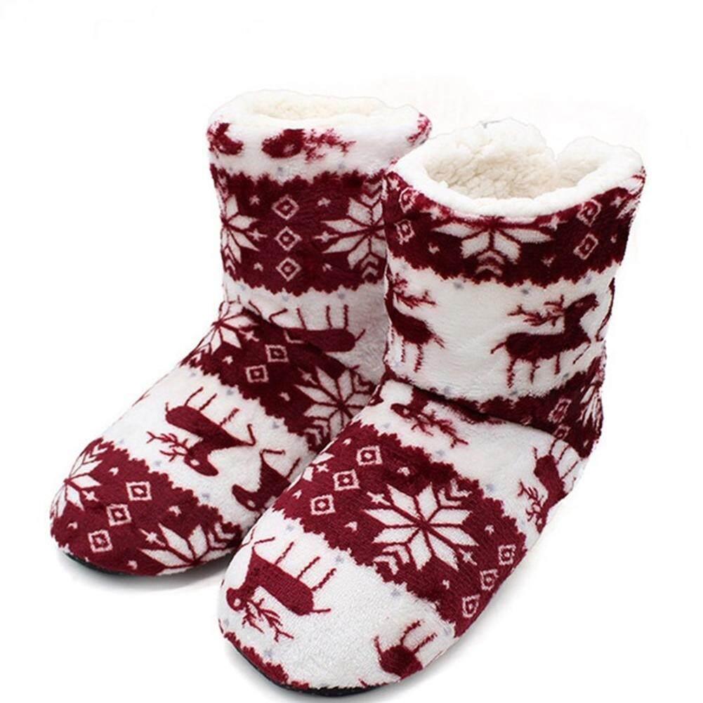 Giá bán DLong Bé Gái SHOSE Unisex Dép Đi Trong Nhà Giáng Sinh Nai Sừng Tấm Trong Nhà Mùa Đông Giày Ấm Contton; Trơn Sang Trọng Pantufa
