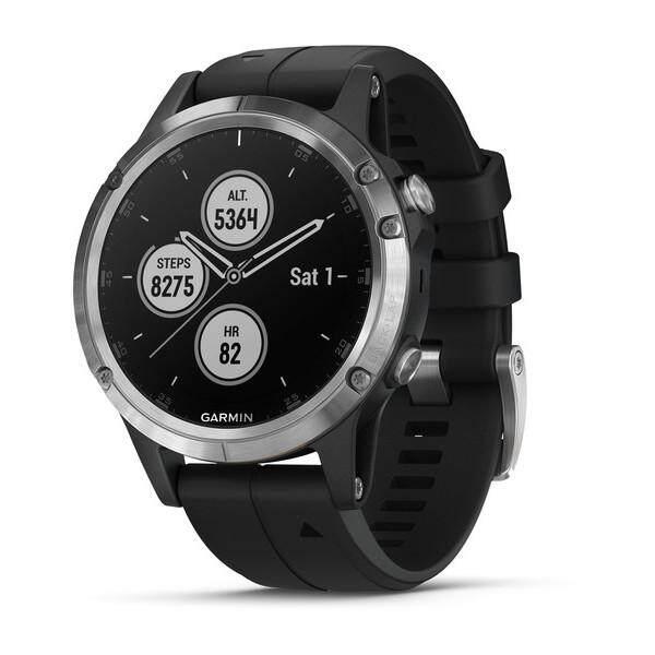 ระยอง Garmin Fenix 5 Plus Multisport นาฬิกาจีพีเอส Silver ซิลิโคนสีดำ