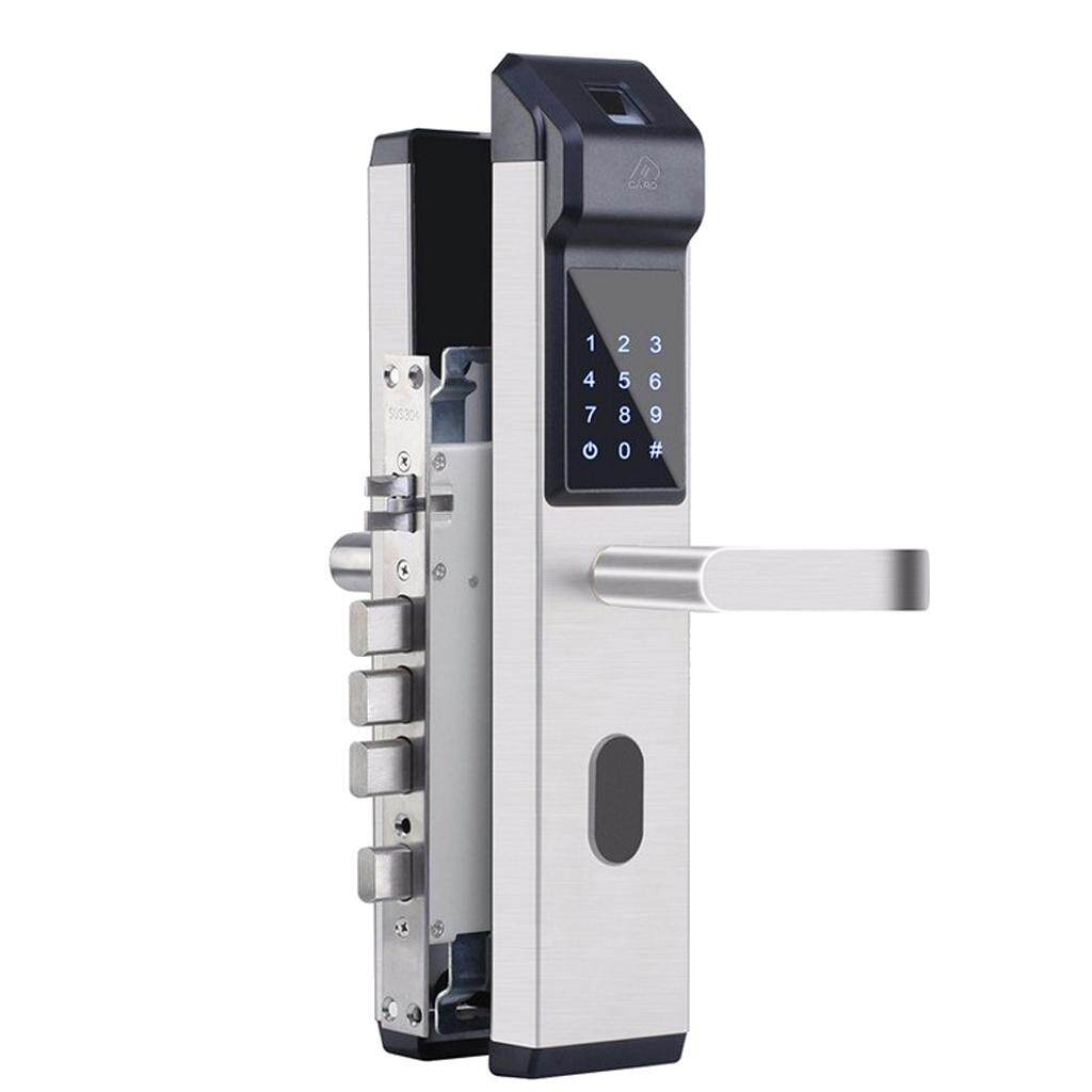 Fityle Stainless Steel Smart Electronic Fingerprint Password Lock,Key IC Card Security Intelligent Door Lock for Home Apartment Office Alarm