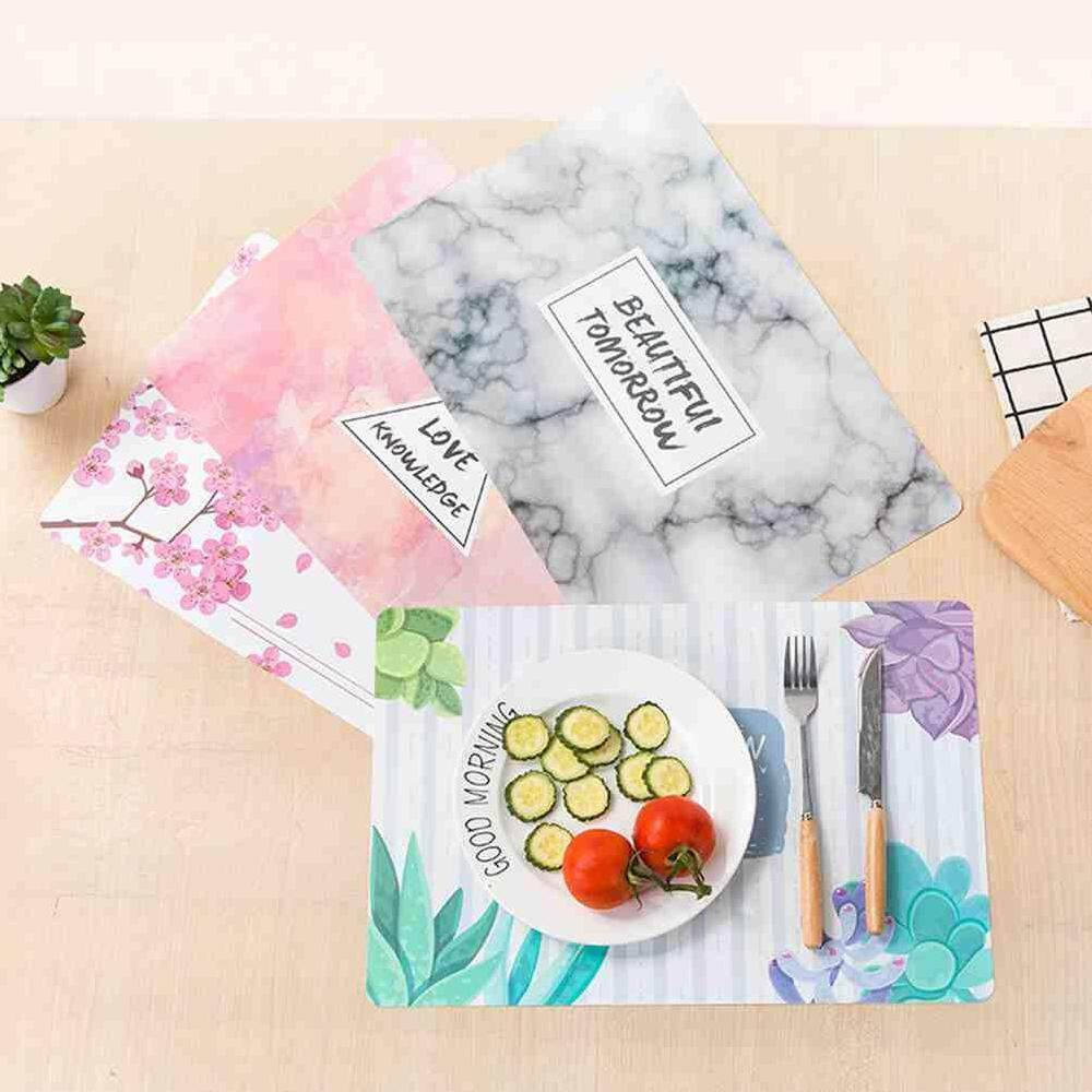 Lissng Desain Unik PVC Mangkuk Isolasi Peralatan Makan Alas Makan Persegi Alas Tatakan Meja 41.8*