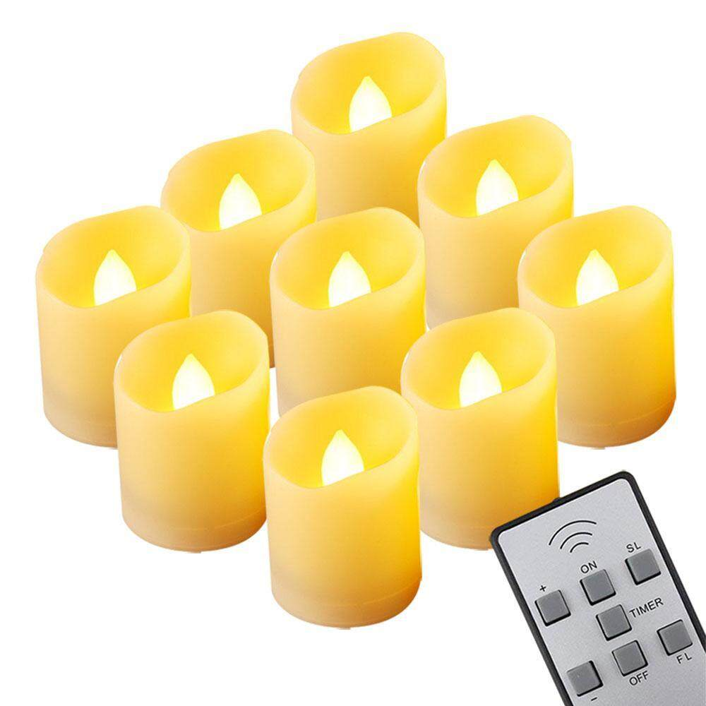 Niceeshop Flickering Led Flameless Candles With Remote And Timer, Long Life, Realistic Melt Edge Pillar Tealight For Indoor Outdoor Party By Nicee Shop.