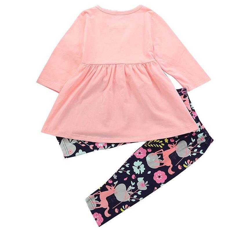 เด็กวัยหัดเดินหญิงชุดเสื้อผ้าเสื้อยืดท็อปแบบตัวสั้นชุด + กางเกง 2 ชิ้นชุด.