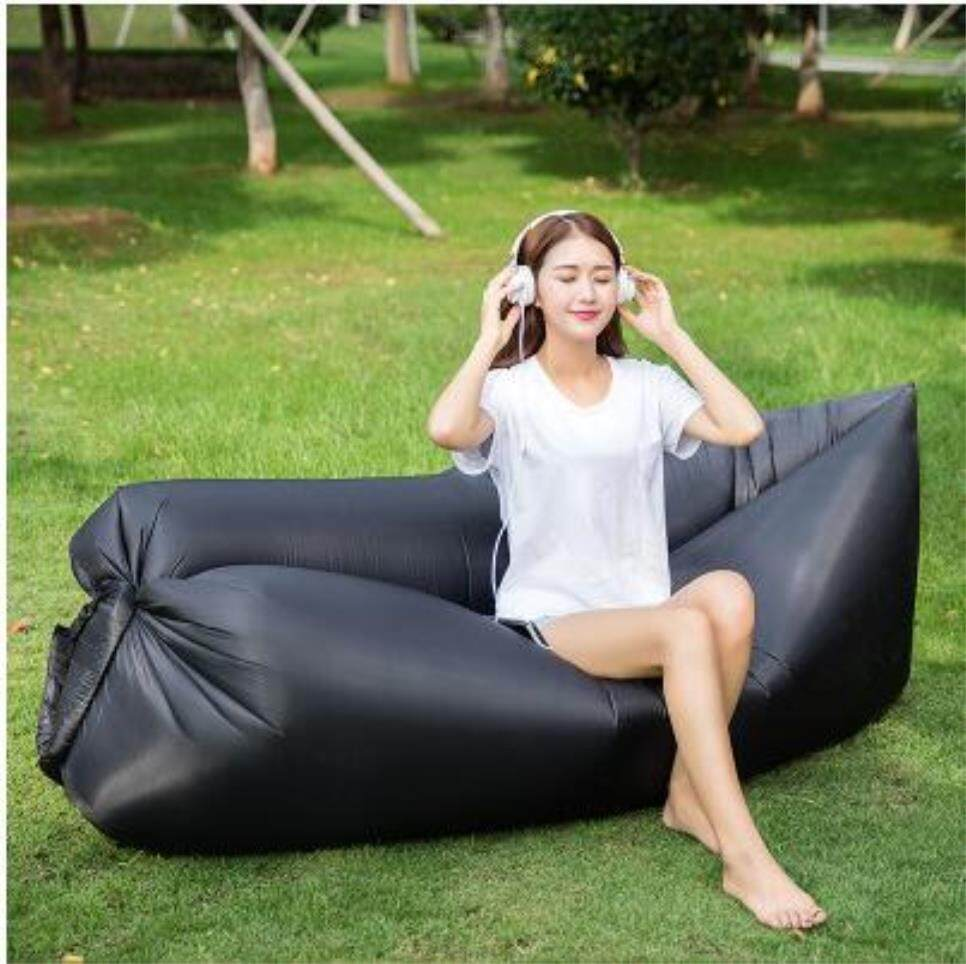 Outdoor Portable Single Inflatable Camping Beach Air Sofa Sleeping Bed Waterproof Folding Lazy Bag Air Lounge Rest Sleeping Bag