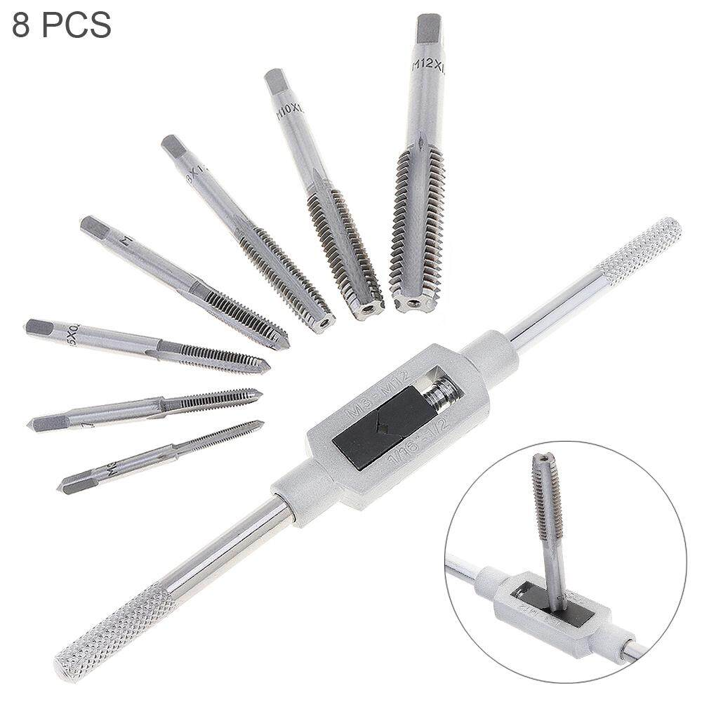 8pcs/set Tap Die Set HSS Hardware with M3-M12 Taps and 1/16 -1/2 Wrench Handle for Woodworking / Machinery Repair