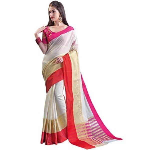 Shree Designer Sarees Womens Cream Chanderi Silk Unstitched Saree - intl