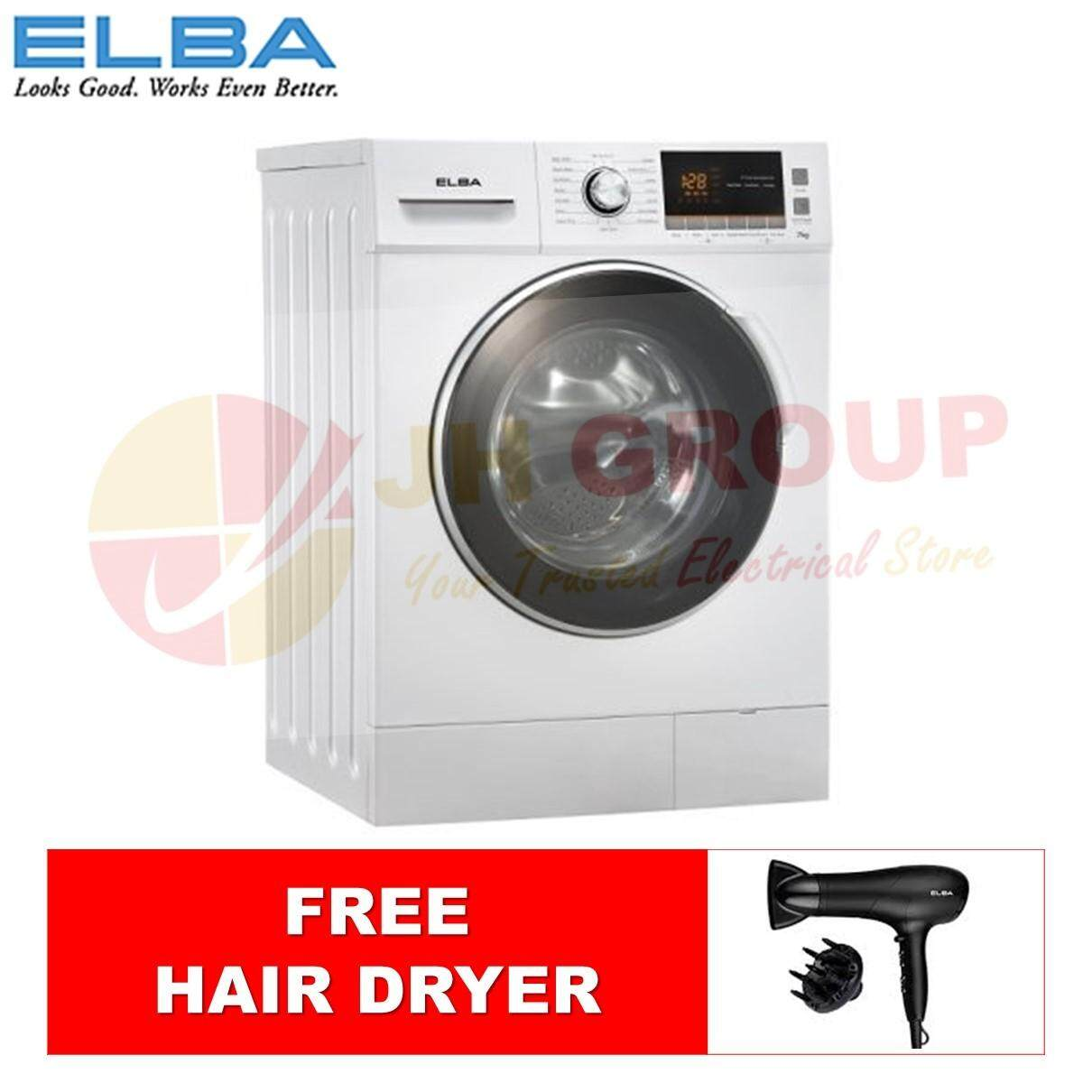 (AUTHORISED DEALER) ELBA EWF-E7152D(WH) FRONT LOADING WASHING MACHINE 7KG *FREE HAIR DRYER