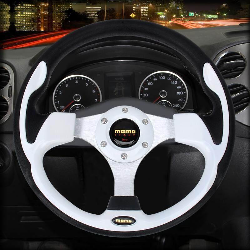 Momo Kendaraan Mobil Balap Dimodifikasi Klakson Olahraga Tombol Roda Kemudi, Diameter: 32 Cm (Putih)-Intl