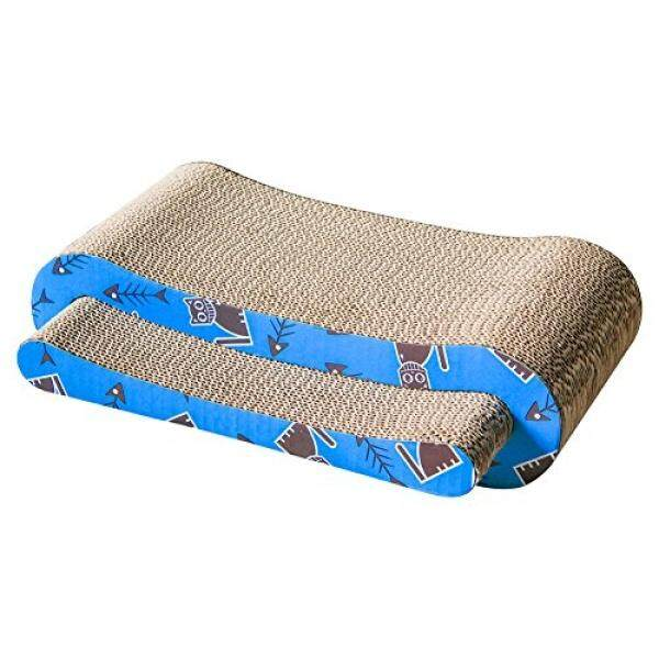 Multi-activity Kitty / Cat Scratching Pad / Post with Catnip - Avoid Furniture Destroyed -Sturdy Enough Scratcher- Recycled Materials &Free Toy (Curve Set of 2) - intl