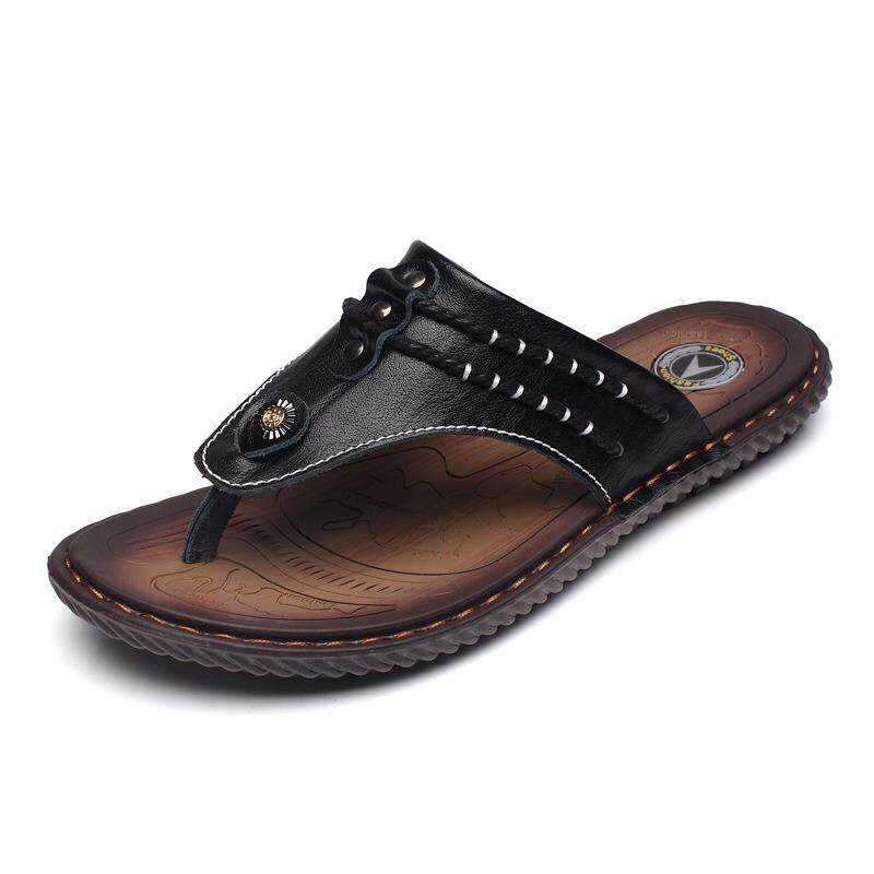 46f1ab8338a280 Summer Men Sandals Split Cow Leather Men Beach Sandals Men Casual Shoes  Flip Flops Cool -