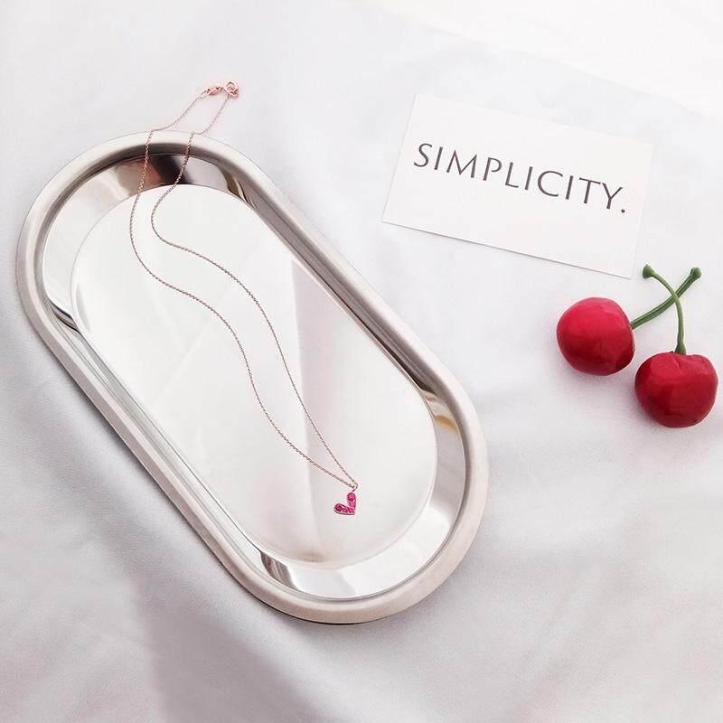【Kalung cinta merah】s925 Perak merah kalung hati wanita Korea busana liar peach sederhana