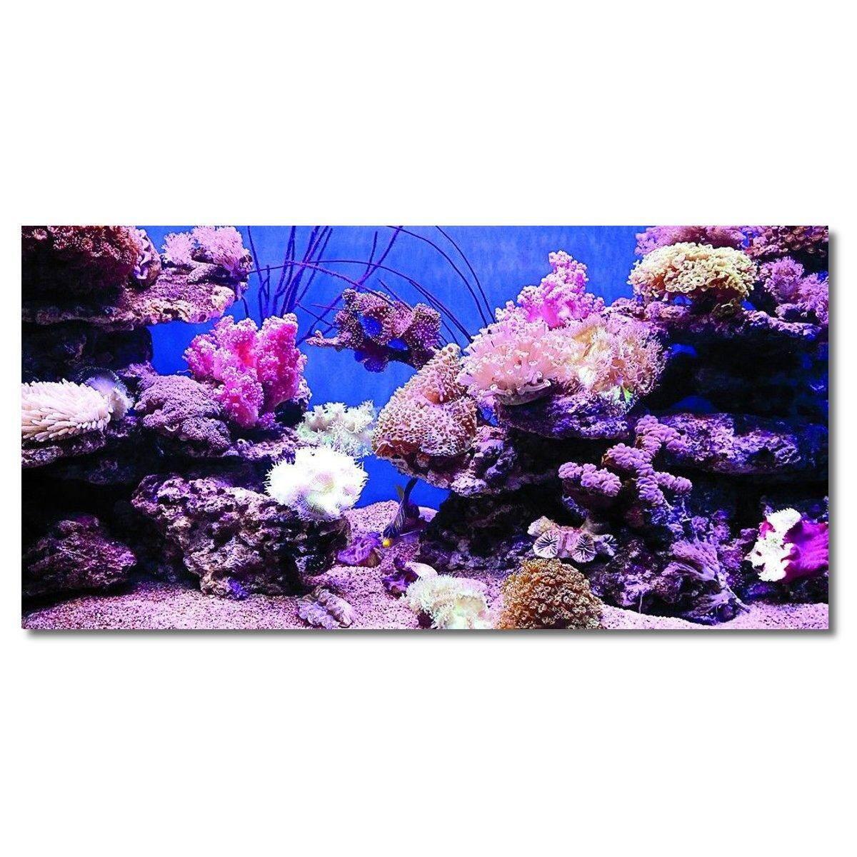 Coral HD Aquarium โปสเตอร์พื้นหลังตู้ปลาตกแต่ง Self Adhesive #122x61 เซนติเมตร - INTL