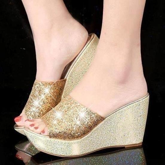b35a54fc905d2 Women Summer Casual High Heel Wedge Skid Slippers Sandals Silver Bling Flip  Flops Shoes