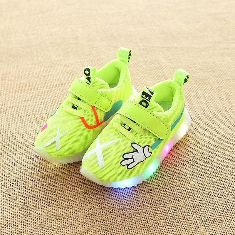 DTX188 Baru Musim Gugur Anak Sepatu LED Sepatu Lampu Anak Laki-laki Ringan Olahraga Sepatu Jaring Bernapas Sepatu Blitz EU21-EU30-Internasional