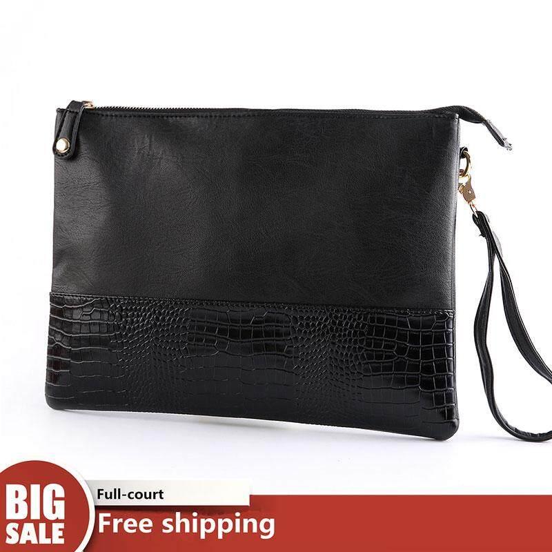 JOHNN New 【High Quality】Korean version Mens clutch Crocodile pattern Fashion tide Mobile phone bag