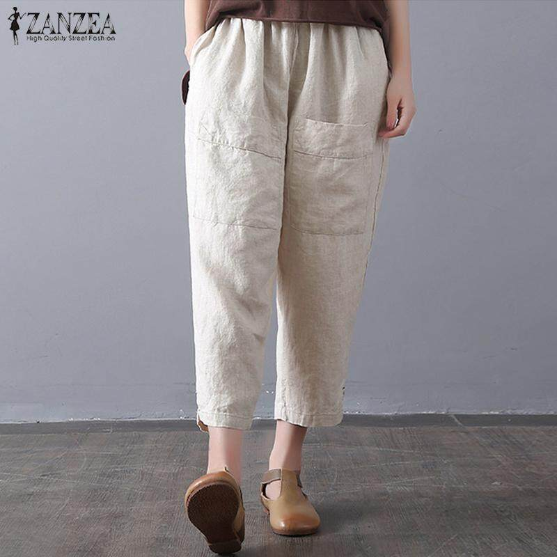 ZANZEA Women Summer Vintage Wide Leg Elastic Waist Cropped Harem Pants Trousers