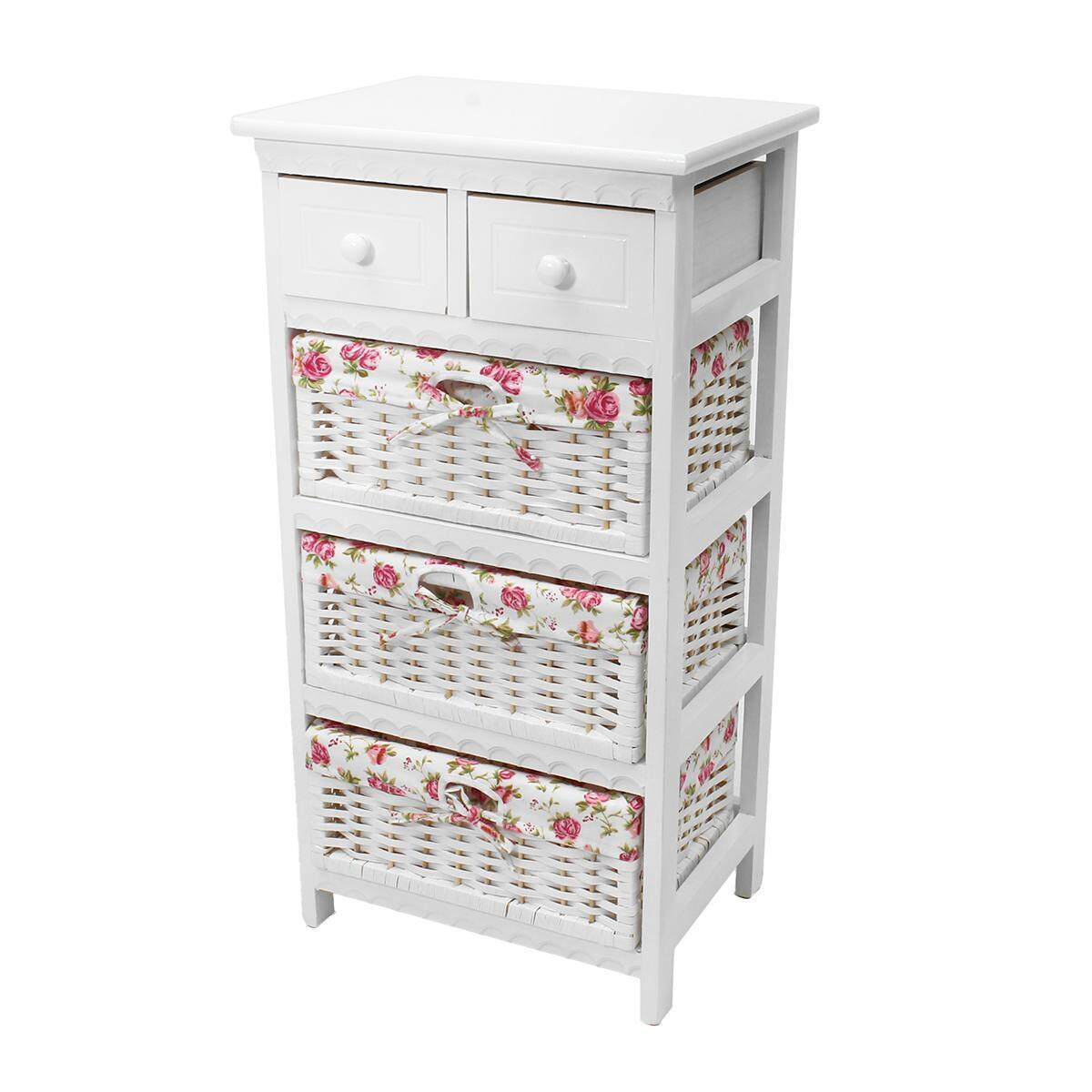 White Wicker Basket Storage Unit Chic Bedside Table Cabinet Chest of Drawers four floors