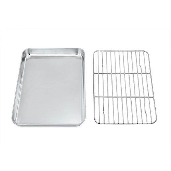 Toaster Oven Tray and Rack Set, P&P Chef Stainless Steel Broiler Baking Pan with Rack, Rectangle 8x10x1, Healthy & Non Toxic & Dishwasher Safe - intl
