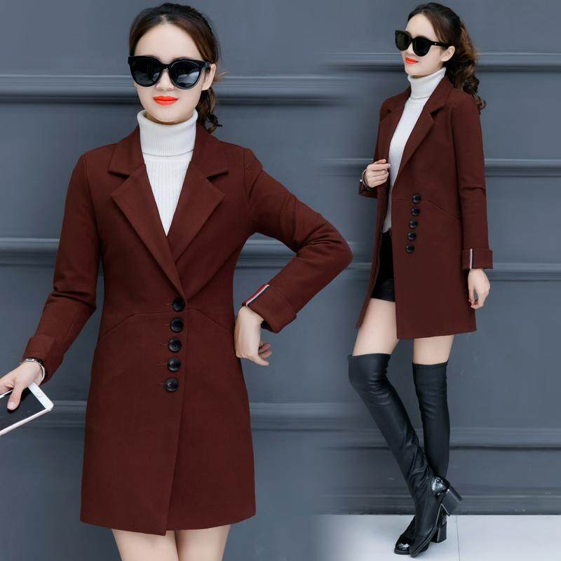 3d973a5148094 Woolen Jacket women Mid-length Korean Style 2019 New Style Autumn And Winter  South Korea