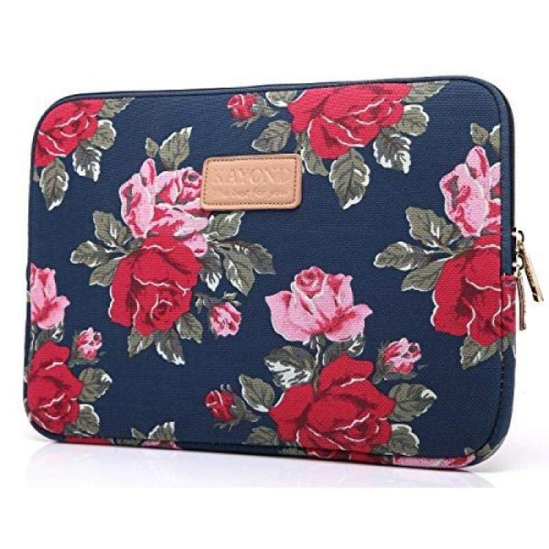 KAYOND KY-41 Canvas Fabric Sleeve for 13.3-inch Laptops - Peony Patterns (13.3, Bule Peony) - intl